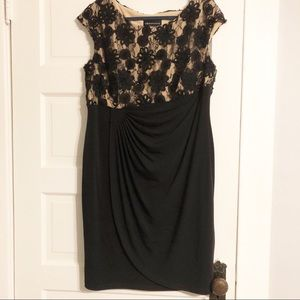 Connected Apparel Woman Nude & Black Lace Dress
